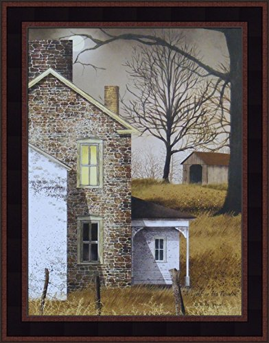 (Home Cabin Décor A Light in The Window by Billy Jacobs 15x19 Brick Stone House Night Full Moon Country Primitive Folk Art Print Framed Picture (Country Black Woodtone))