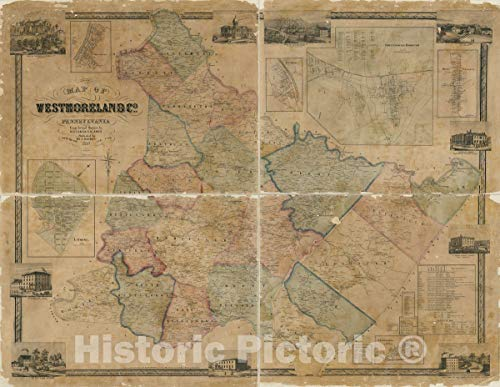 Historic 1857 Map | Map of Westmoreland Co, Pennsylvania : from Actual surveys 57in x 44in