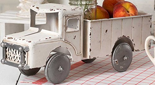 (Vintage White Rustic Truck Planter Decorative Tabletop Storage )