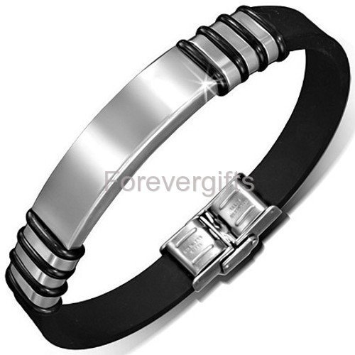 Personalized Stainless Steel with Rubber Id Bracelet - Free Engraving ()