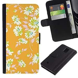 EuroTech - Samsung Galaxy Note 4 SM-N910 - Yellow Floral Wallpaper Leaves Green - Cuero PU Delgado caso Billetera cubierta Shell Armor Funda Case Cover Wallet Credit Card