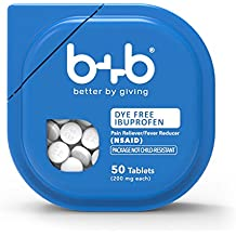 b+b Dye-Free IBUPROFEN Tablets | 50 Count | No Artificial Dyes | You Buy ONE, We Give ONE to over 1000 Free-Health Clinics Nationwide