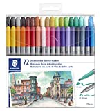 STAEDTLER double ended fiber-tip markers, for sketching, drawing, illustrations, and coloring, 72 vibrant colors, washable, 320TB72 LU