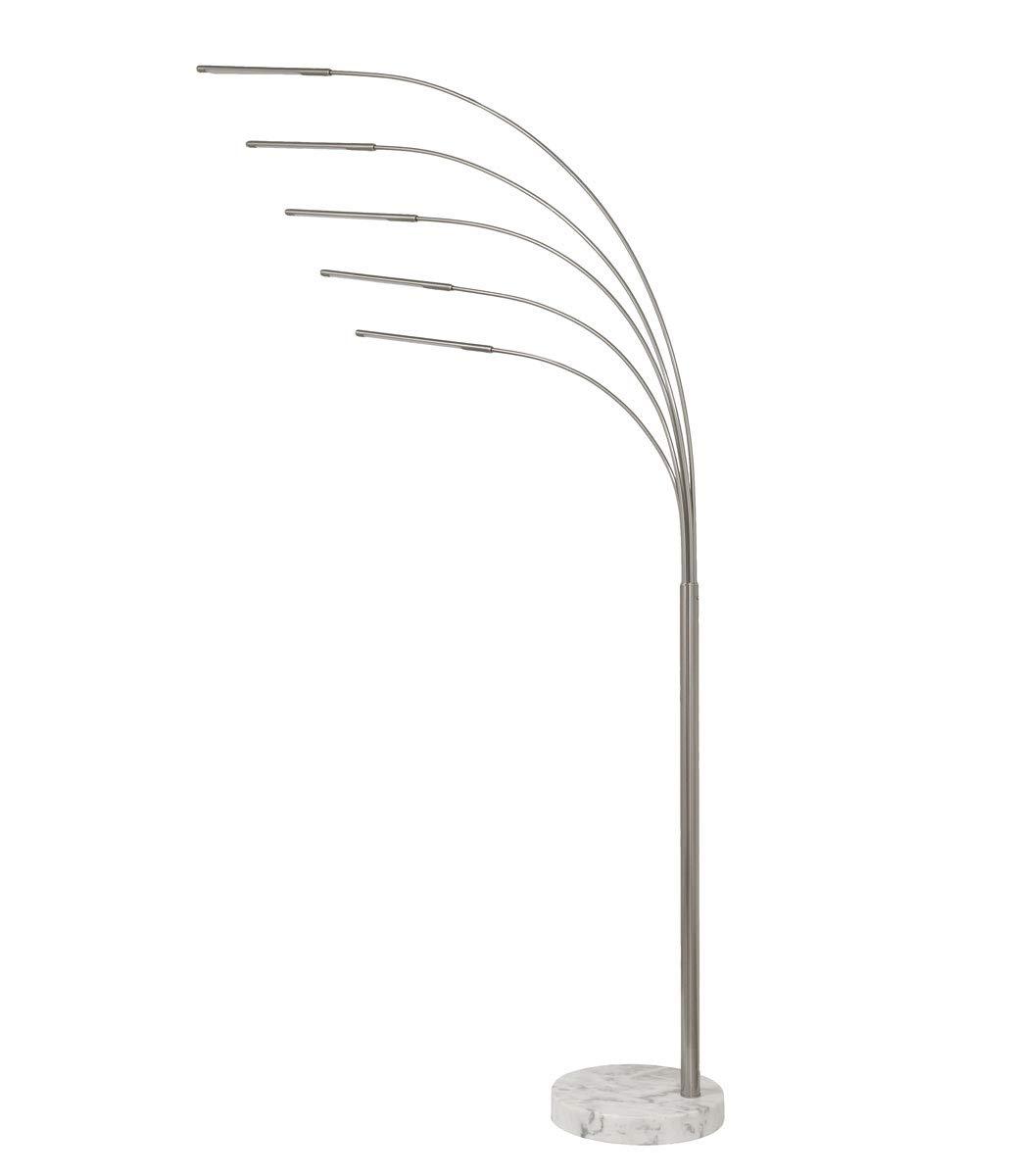 Bogenleuchte Bogenlampe Five Fingers LED 15 W nickel matt weißer Marmorfuß 10649