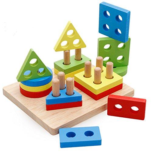 Holzsammlung Formes Et De Couleurs Planche d'empilage et de tri - Premier Puzzle En Bois - Âge minimum: 3 ans