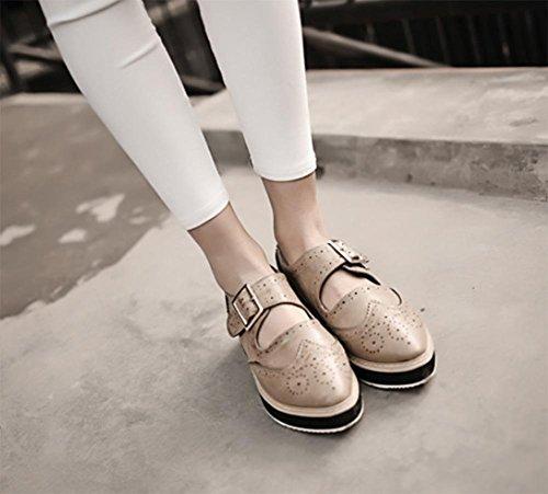 chaussures à muffins à fond lourd pour aider à chaussures basses boucle de ceinture creux chaussures ascenseur de printemps de femmes chausse Mme , US6 / EU36 / UK4 / CN36