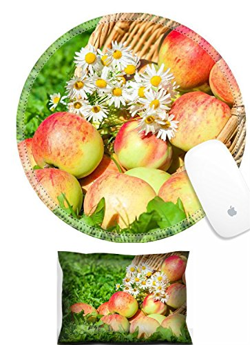 Apples Organic Support (Luxlady Mouse Wrist Rest and Round Mousepad Set, 2pc Wrist Support organic apples in a garden on green grass IMAGE: 25941958)