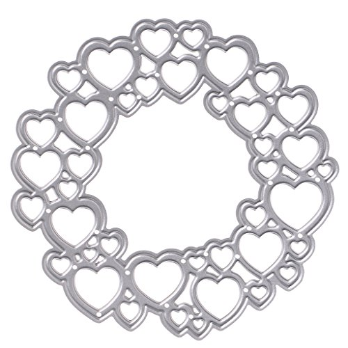 Feamos Heart Shape Circle Die Cuts Creative Card Making and Papercrafting for DIY Carbon Steel Silver