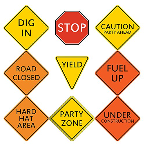 Construction Traffic Signs Topoox 9 Pack Dump Truck Party Su