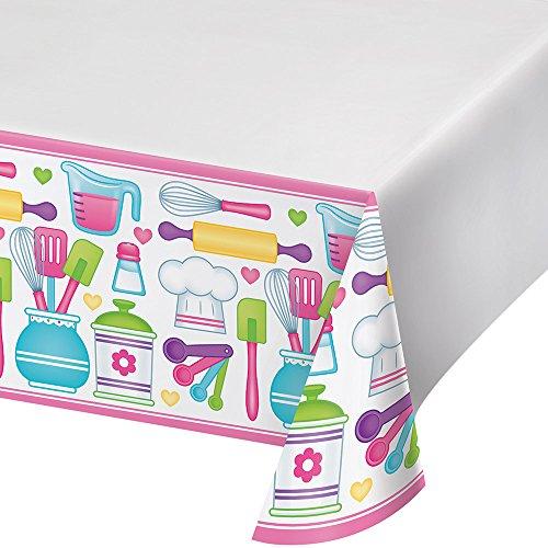Creative Converting Border Print Plastic Tablecover, Little Chef - 324650 -