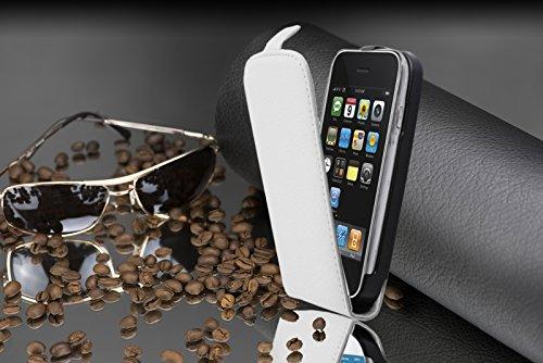 Cadorabo - Funda Flip Style para Apple iPhone 3G / 3GS de Cuero Sintético - Etui Case Cover Carcasa Caja Protección en NEGRO-ÓXIDO BLANCO-MAGNESIO