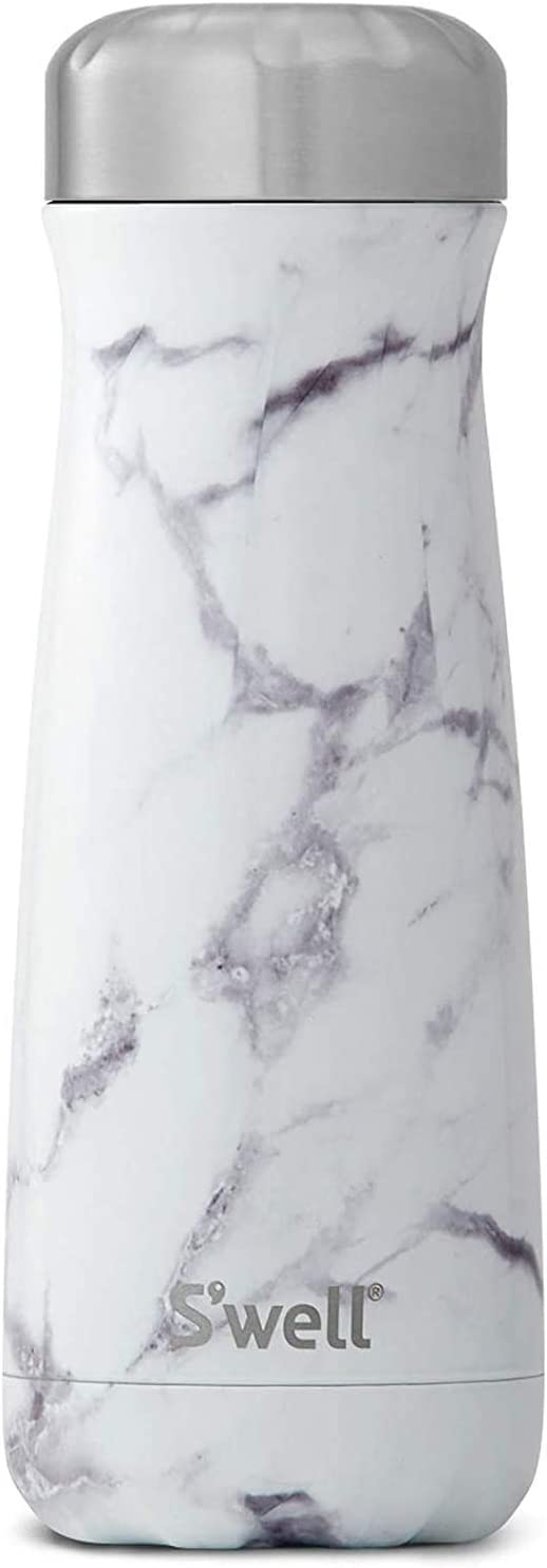 S'well Stainless Steel Traveler - 20 Fl Oz - White Marble - Triple-Layered Vacuum-Insulated Travel Mug Keeps Coffee, Tea and Drinks Cold for 36 Hours and Hot for 15- BPA-Free Water Bottle