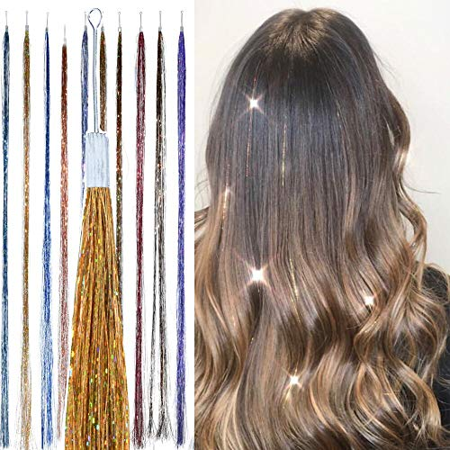 Gold Metal Glitter - Holographic Hair Tinsel - by Hair Dazzle - Professional Fairy Strands - GOLD Color Glitter Hair Extensions For Girls - Heat Resistant & Tangle-proof, Long Lasting Women's Sparkle Hair Accessories