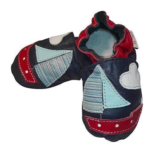 Jinwood - Patucos de Piel para niño Azul - azul marino