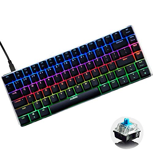 LexonElec Wired Gaming Keyboard Ajazz AK33 Blue LED Backlit 82 Keys USB Mechanical Pro Gamer Keypad for Office Typists Playing Game (Blue Switch, Black & RGB LED)