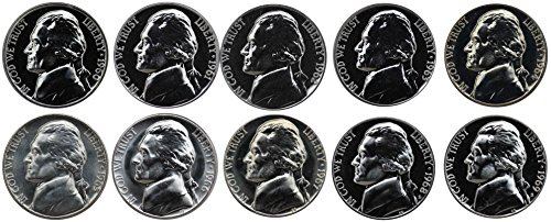 - 1960-1969 S Jefferson Nickel Gem Proof & SMS Run 10 Coins US Mint Decade Lot Complete 1960's Set