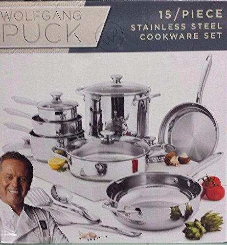 NEW Wolfgang Puck - 15 Piece Stainless Steel Cookware, used for sale  Delivered anywhere in USA
