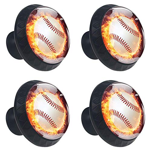 Idealiy Fire Flames Baseball Door Drawer Pull Handle Furniture Decoration for Kitchen Cabinet Dressing Table