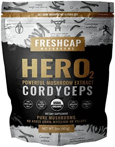 HERO - Cordyceps Mushroom Extract Powder - USDA Organic -60 g- Supplement - Energy and Endurance - Add to Coffee/Tea/Smoothies-Real Fruiting Body No Fillers