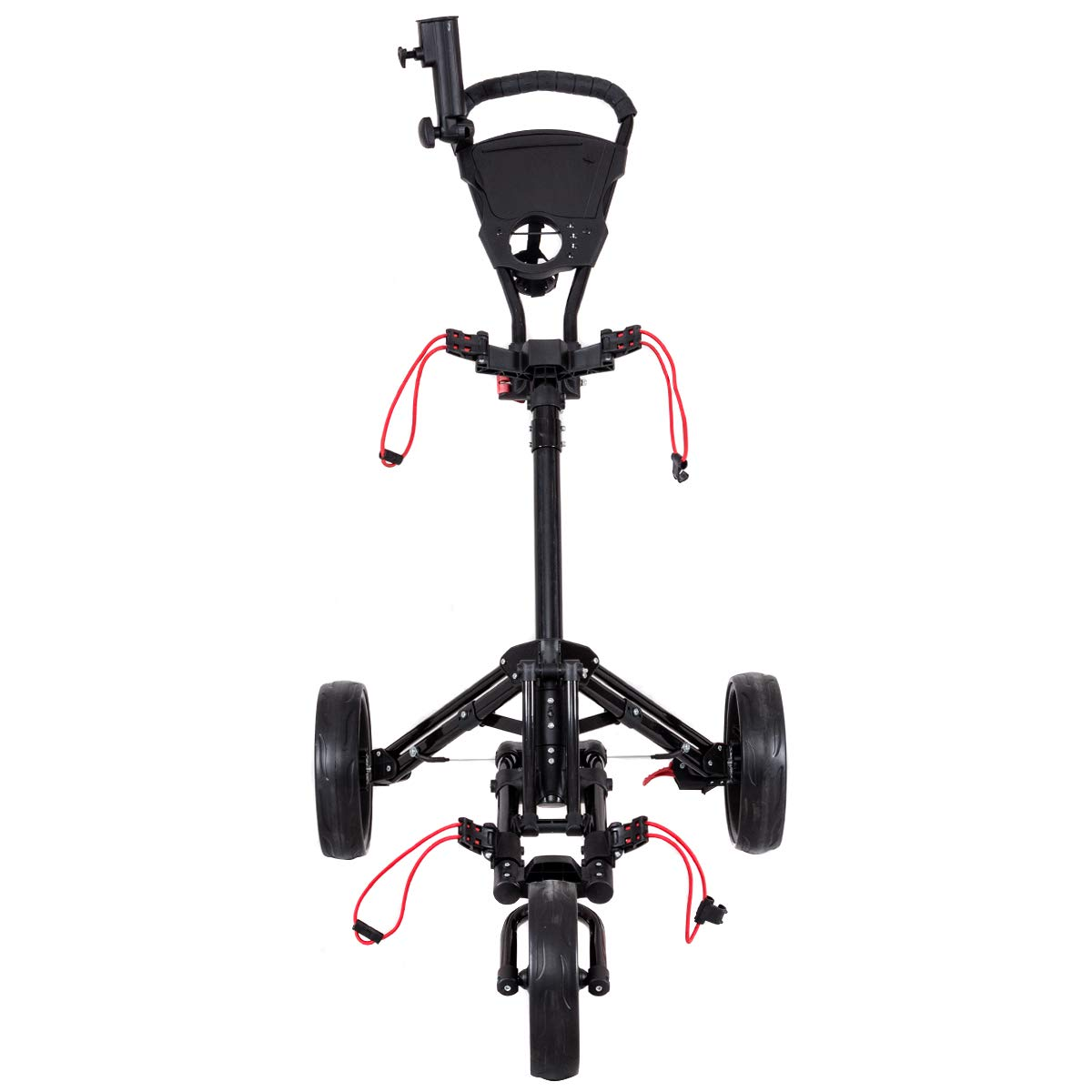 GYMAX Golf Cart, 3 Wheels Foldable Golf Trolley with Umbrella and Tee Holder, Easy Push and Pull Hand Cart, with Umbrella Scorecard Drink Holder