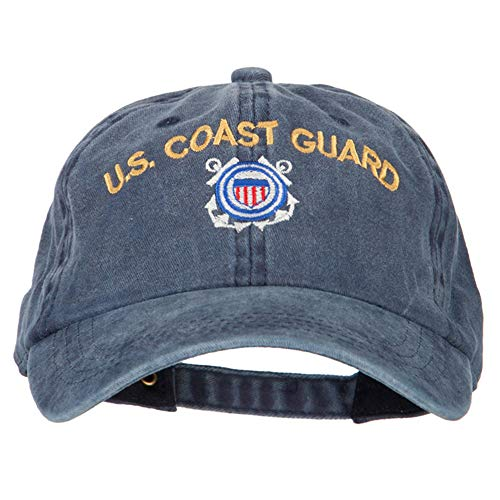 US Coast Guard Logo Embroidered Washed Cotton Twill Cap - Navy OSFM