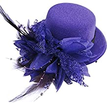 Song Flower Decor Hair Clip Feather Fascinator Burlesque Mini Top Hat for Women Lady