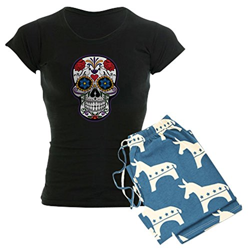Truly Teague Women's Dark Pajamas Floral Sugar Skull Day of the Dead - Democrat, Medium]()