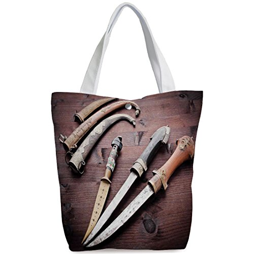 iPrint Canvas Shopping bag,shoulder handbags,Shoulder Bag,Arabian,Arabian Ancient Daggers Knife Ancient Weapon Symbol of Protection Culture Picture,Redwood,Stylish Canvas Tote Bag by iPrint