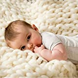 Yijiujiuer Chunky Knit Blanket Giant Throw Merino Wool Yarn Hand Made Bed Sofa Chair Mat (Beige 40