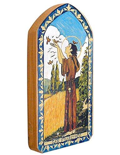 Modern Artisans San Francisco (St Francis) Patron Saint of Animals Handmade Retablo Plaque, 3.5 x 7.25 Inches