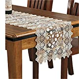 QXFSMILE Beige Lace Table Runner Embroidered Dandelion Table Flag 16 By 54 Inch, Beige