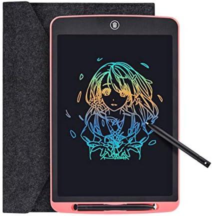 """Tyhbelle Bunte LCD Schreibtafel 12"""" hellere Schrift mit Anti-Clearance Funktion und Dicke Linien,String,Stift papierlos für Schreiben Malen Notizen Super als Geschenke (Rosa + Bunt)"""
