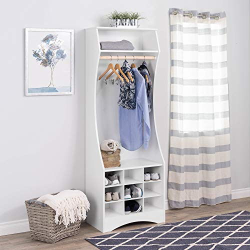 Prepac WSWX-1001-1 White Compact Wardrobe with Shoe Storage,