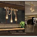 REAYOU Vintage cuerda colgante Loft luces Lámpara Industrial creativo Edison Lámpara de estilo americano, restaurante/bar en la decoración del hogar (Bombillas No Incluidas)