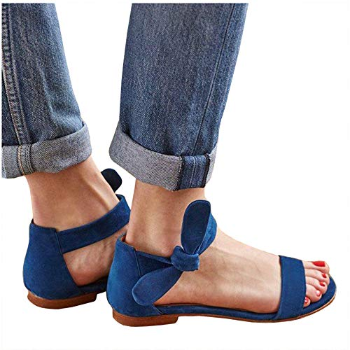 (LAICIGO Women's Flat Sandals Ankle Scalloped Strap Open Toe Low Heel Faux Suede Shoes with)