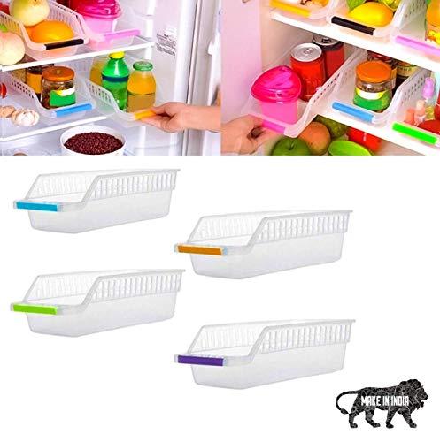 CREATONIC Plastic Fridge Storage Basket Shelf Organiser Rack Space Saver Food Fruit Vegetables Storage Refrigerator…