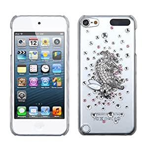 Snap on Cover Fits Apple iPod Touch 5 (5th Generation) Silver Running Rabbit Crystal 3D Diamond Back (Please carefully check your device model to order the correct version.)