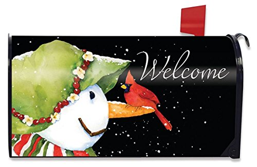 Cute Snowman with a Cardinal on its Nose Magnetic Mailbox Cover