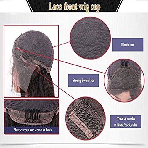 Body Wave Lace Front Human Hair Wigs-Glueless Brazilian Virgin Wigs with Baby Hair for Black Woman 130% Density 1b color (20 inch) by PFWIGS (Image #5)