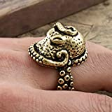 Haiker Vintage Bronze Octopus Sea Monster Squid Kraken Punk Antique Ring Retro Adjustable Ring