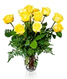 lovely luxury home office design FLWERZ [Touch of Magnificence] One Dozen Classic Aromatic Beautiful Blooming Yellow Roses Gorgeous Long Stem Fresh-Cut Hand-Made Luxury Bouquet Arrangement of Rose Flowers w/Free clear 8 oz Vase