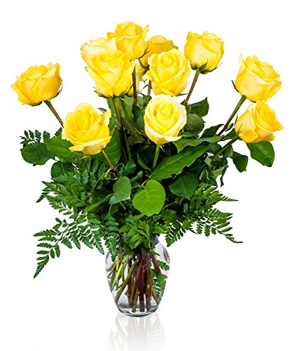 FLWERZ [Touch of Magnificence] One Dozen Classic Aromatic Beautiful Blooming Yellow Roses Gorgeous Long Stem Fresh-Cut Hand-Made Luxury Bouquet Arrangement of Rose Flowers w/Free clear 8 oz Vase