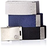 Image of Levi's Men's Cut To Fit 3 Pack Web Belt With Buckle,black/blue/grey,One Size