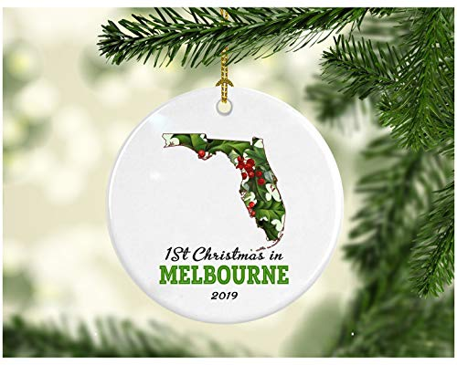 New Home Christmas Ornament 2019 Melbourne Florida First Christmas in Our New House Housewarming Holiday Gift Pretty Rustic First Christmas in Our New Home 2019 Ceramic 3