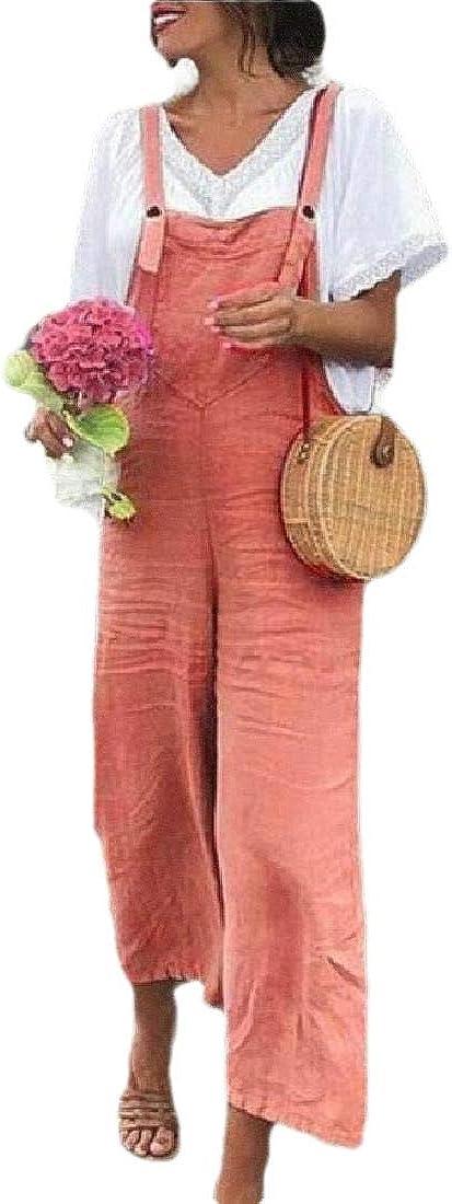 HANA+DORA Womens Strappy Bib Wide Leg Suspender Overalls Harem Pant Playsuit