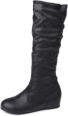 Fullfun Womens Mid Calf Leather Flat
