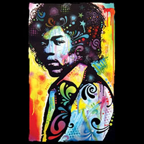 Neon T-Shirt - Psychedelic Jimi Hendrix - bedrucktes Motivshirt als Geschenk für Musik Fans Gitarristen 60er Sixties