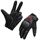 kemimoto Motorcycle Gloves, Men Riding Gloves Summer Super Breathable Carbon Fiber Racing Glove for Dirt Bike ATV Cycling Motorbikes Outdoor - Black XL