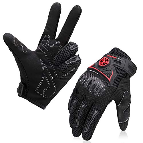 Honda Motorcycle Gloves - kemimoto Motorcycle Gloves Men Riding Full Finger Breathable Protective Glove for Motocross Racing Dirt Bike ATV UTV Mountain Bike Cycling Outdoor Sports Gloves Black XL