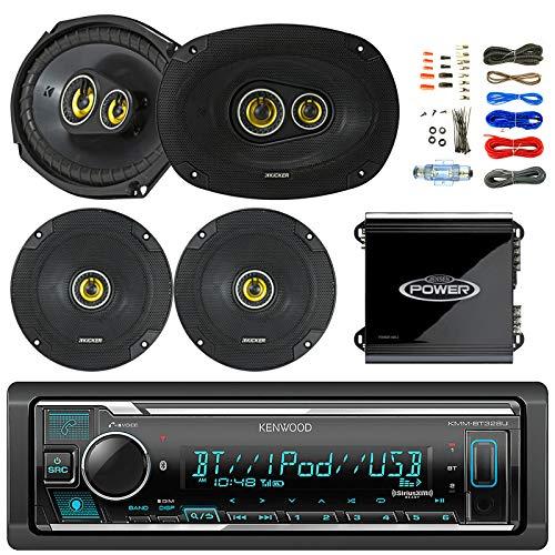 """Kenwood Bluetooth AM/FM Car Stereo Receiver Bundle Combo with 2X Kicker 600-Watt 6.5"""" 2-Way Speakers, 2 x 900W 6x9 3-Way Coaxial Speakers, 2-Channel Amplifier w/Installation Kit"""